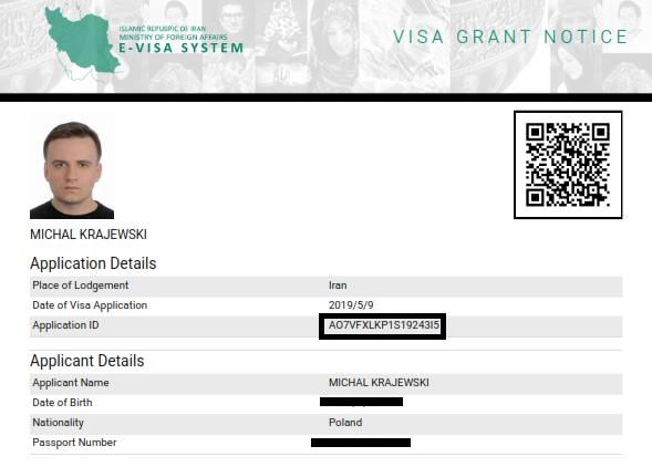 Iran Visa Authentication Code